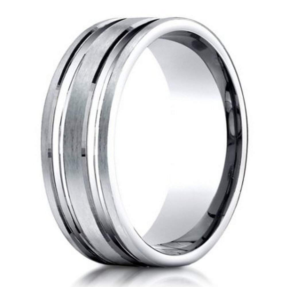 fit bands milgrain plain comfort platinum in ring mm mens wedding band