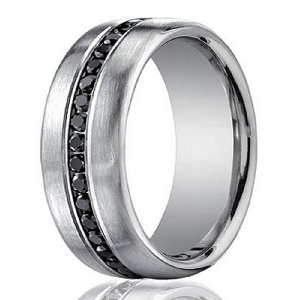 Designer 14K White Gold Mens Eternity Band Black Diamond 75mm