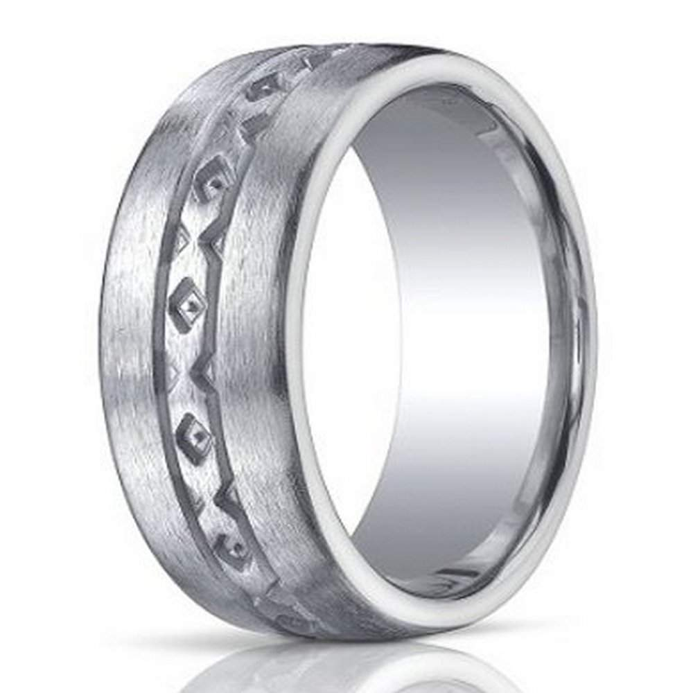 designer brushed argentium silver wedding ring with x pattern design 10mm jbs1021 - Man Wedding Ring
