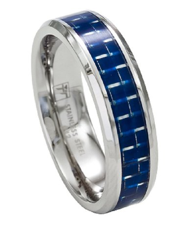 Mens Stainless Steel Wedding Band With Blue Carbon Fiber Inlay