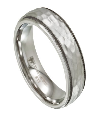Mens Stainless Steel Wedding Band With Hammered Effect 7mm Jss0195