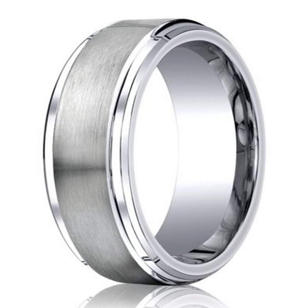 designer cobalt chrome wedding ring with satin finish and polished stair step edge 9mm jbcb1021 - Cobalt Wedding Rings