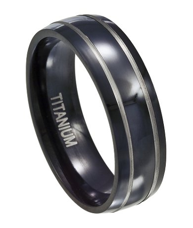Men S Black Anium Wedding Band With Silver Bands And Polished Finish 7mm Jt0121