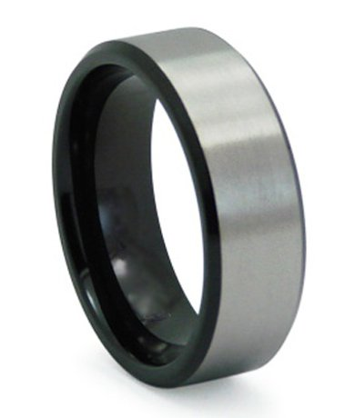 8mm Mens Black Titanium Wedding Band with Satin Overlay